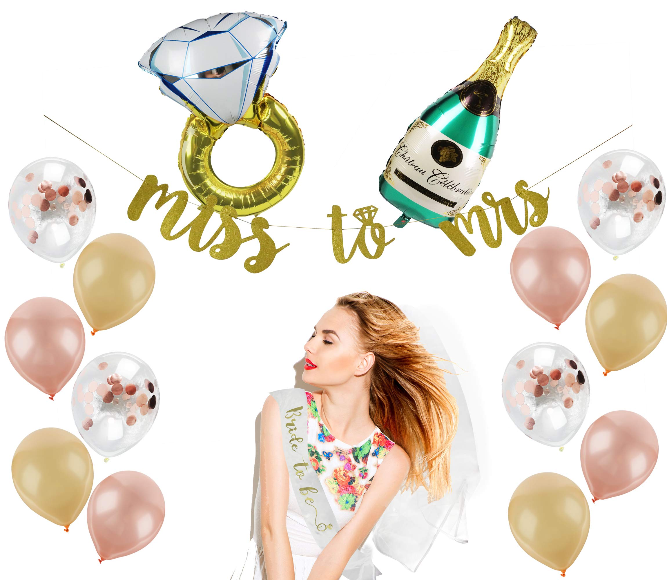 Bachelorette Party Decorations Kit | Bridal Shower Decorations Set | Bride to Be Sash, Veil, Champagne + Ring Foil Balloon, Rose Gold Balloons + Pink/Beige Balloons, Gold Glitter Ms to Mrs Banner by Party Craze