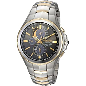 Seiko Mens COUTURA Quartz Stainless Steel Casual Watch, Color:Two Tone (