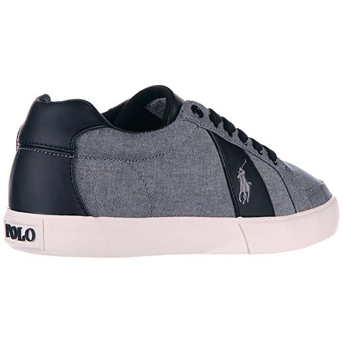 Cotton Shoes Men's Uk Lauren Sneakers Trainers Grey Polo Ralph Hugh Ifv6gY7by