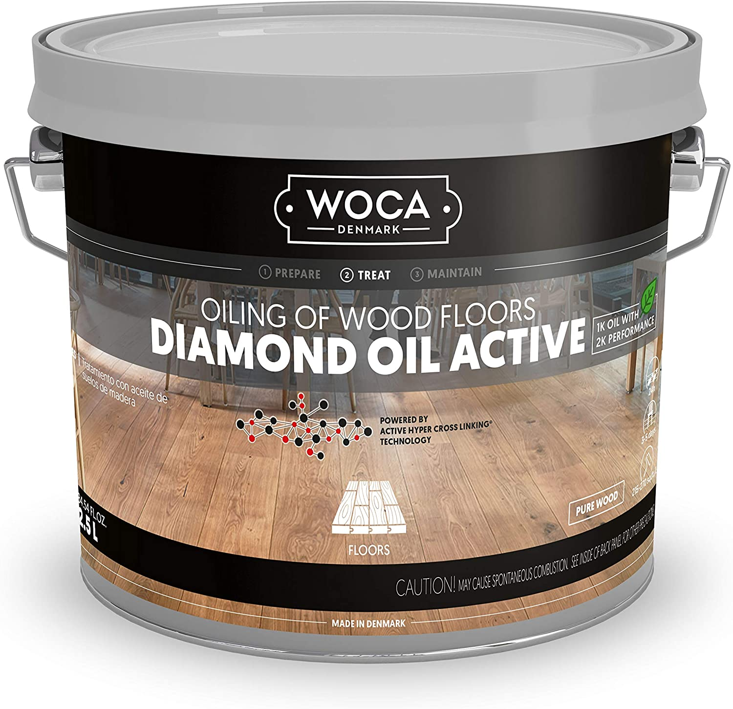 WOCA Denmark - Diamond Oil Active Wood Finish - Low VOC Plant Based Penetrating Oil for Untreated, New, or Newly-Sanded Wooden Surfaces (2.5L, Pure Wood)