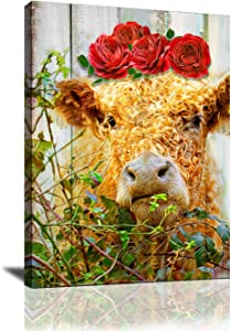 Country Decor Cute Cow Flower Crown Farm Animal Pictures For Living Room Framed Canvas Wall Art for Home Decor