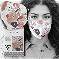Vilado Reusable Fashion Face Mask With Elastic Ear Loops & Silicon Clips Floral Collection (Floral)
