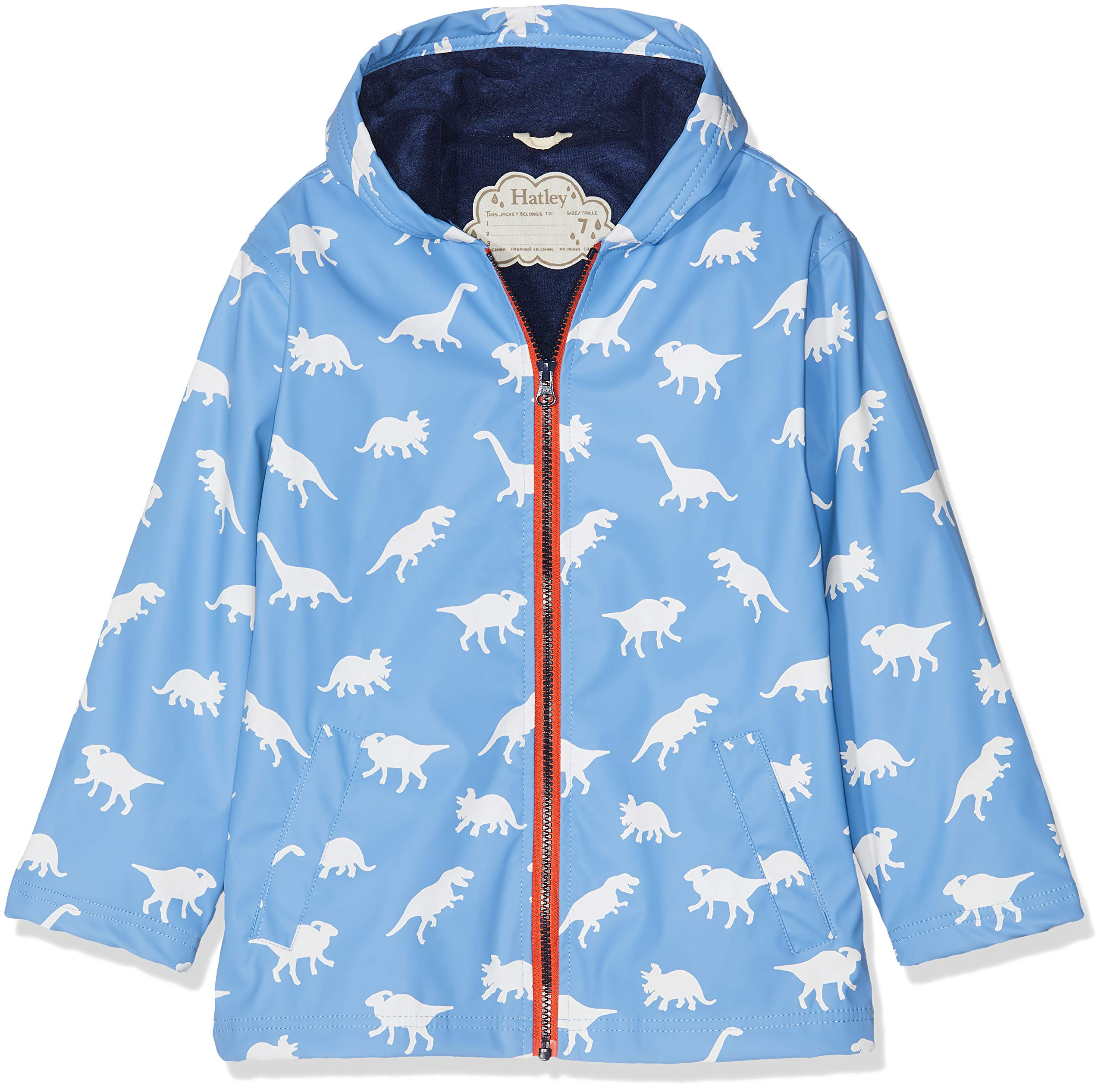 Hatley Boys' Big Splash Jacket, Color Changing Silhouette Dinos 7 Years by Hatley (Image #1)