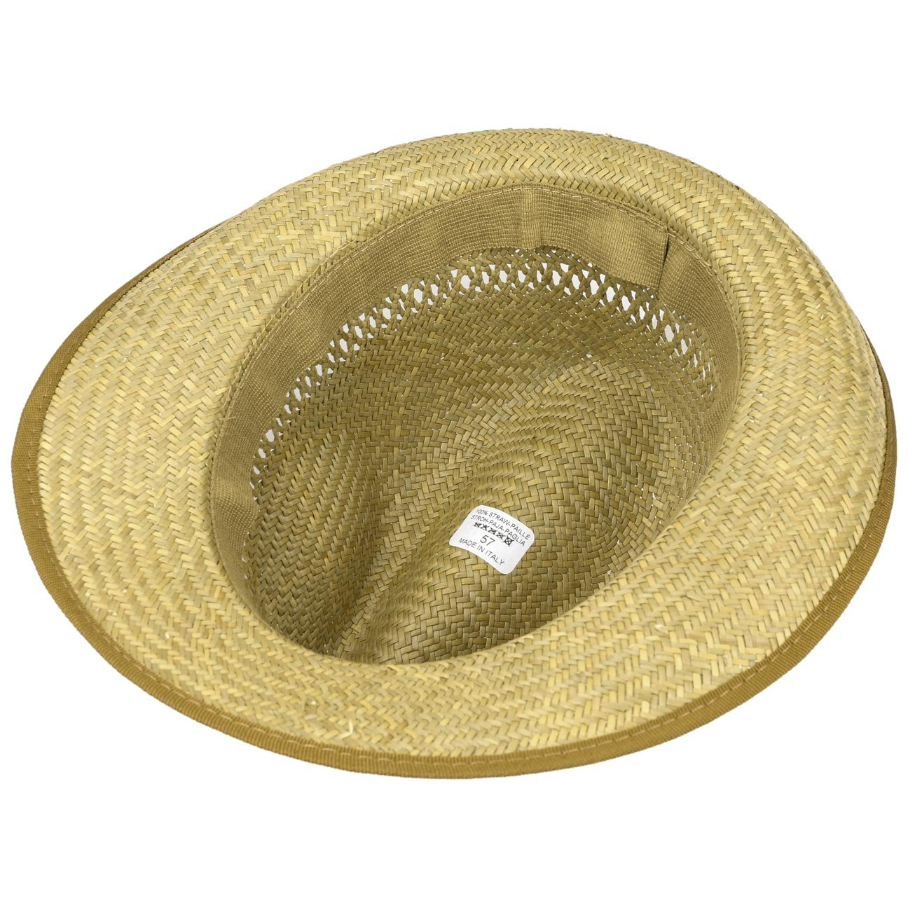 Lightweight Straw Hat with Grosgrain Ribbon Natural Colour Airy Hat Thanks to The Interwoven Air Holes for Women and Men Summer Hat with Wide Brim in Sizes 54-63 cm Classic Straw Fedora Hat