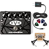 MXR EVH 5150 Overdrive Pedal with 3 Band EQ BUNDLED WITH Blucoil Power Supply Slim AC/DC Adapter for 9 Volt DC 670mA, 2-Pack of Pedal Patch Cables AND 4-Pack of Celluloid Guitar Picks