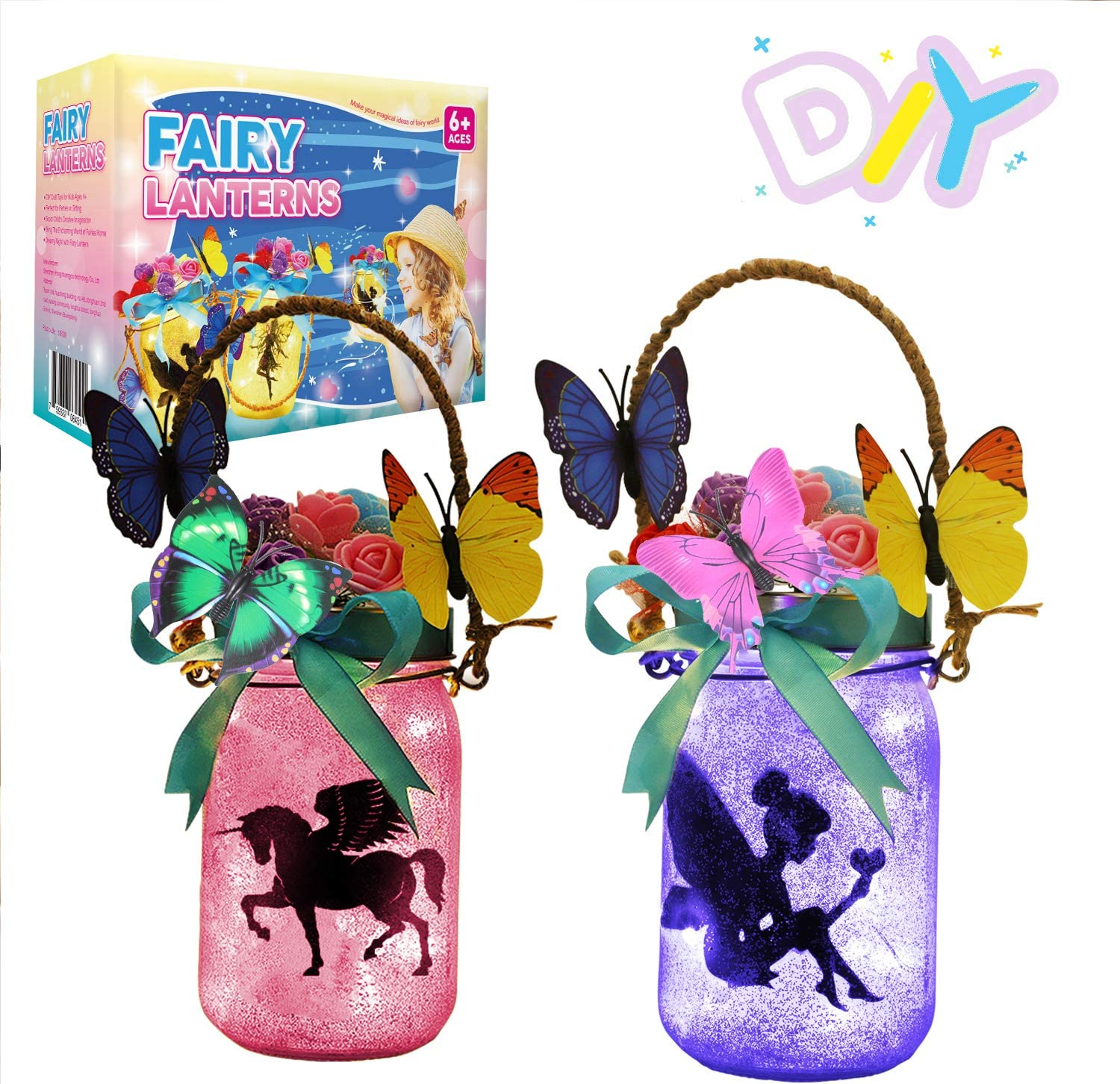 LAYKEN Fairy Lantern Craft Kit for Kids - DIY Make Your Own Fairy Lantern Jar Decor Craft for Girls Age 6 7 8 9 10 Year Old, Great Gift for Girl's Room,Yard, and Garden Decor Art Project