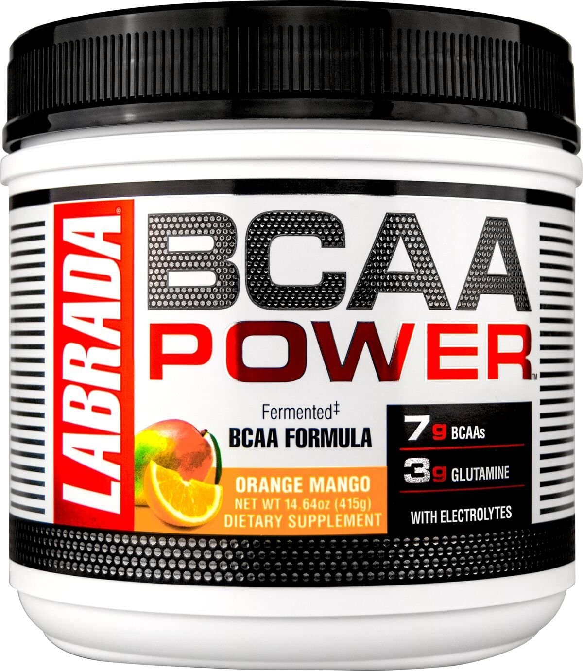 LABRADA NUTRITION BCAA Power Powder, Fermented Amino Acids with Glutamine Electrolytes, Muscle Building Post Workout Supplement, Orange Mango, 30sv