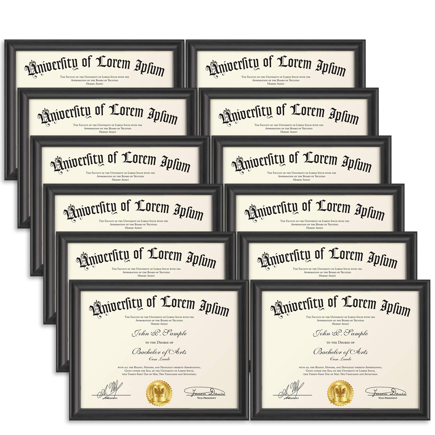 Icona Bay 8.5x11 Document Frame (12 Pack, Black), Black Certificate Frame 8.5 x 11, Composite Wood Diploma Frame for Walls or Tables, Set of 12 Lakeland Collection by Icona Bay (Image #1)