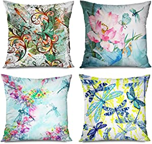 Onete Set of 4 Dragonfly Decorative Throw Pillow Cover Entomological Pillowcase 18 X 18 Inches