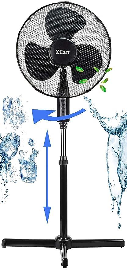 Standventilator weiss 50 Watt von Lentz schwarz 3 Stufen Ventilator