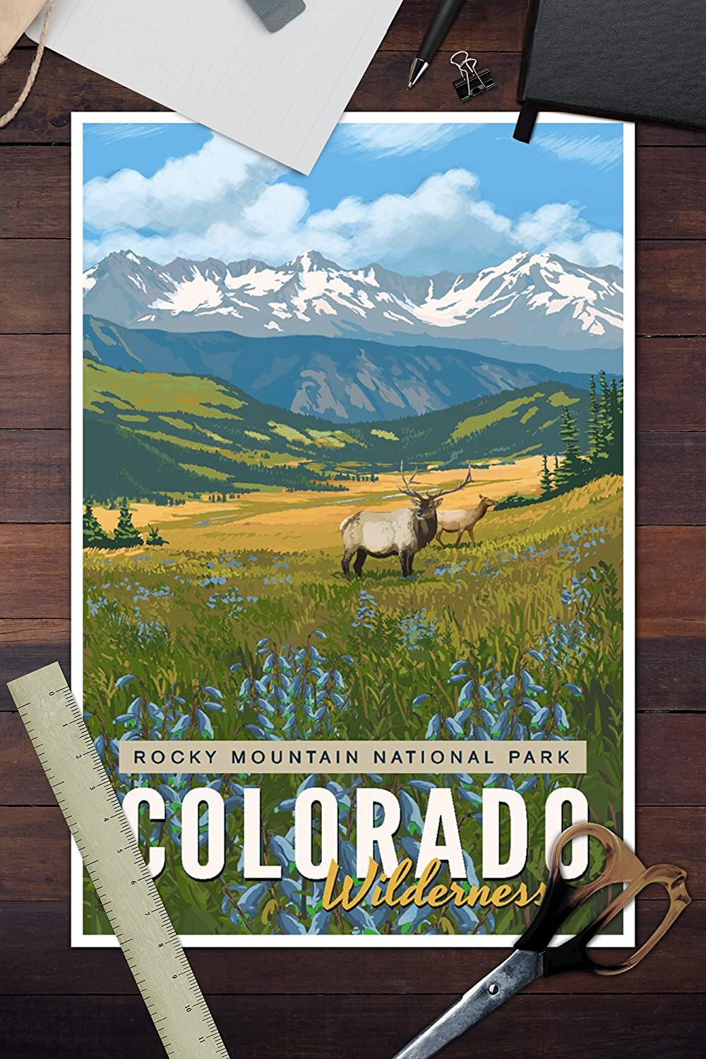 Elk and Flowers 85143 16x24 SIGNED Print Master Art Print - Wall Decor Poster Rocky Mountain National Park Colorado