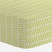 Carousel Designs Light Lime Herringbone Crib Sheet - Organic 100% Cotton Fitted Crib Sheet - Made in The USA