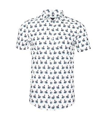 51d07a0ea01 TOPORUS Mens Casual Swan Printed Short Sleeve Button Down Shirts White S