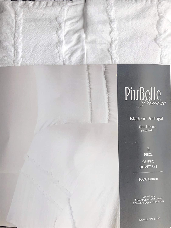 Piubelle ポルトガル 無地 ホワイト 3ピース 羽毛布団カバーセット フリンジエッジ シャビーシック フレンチファームハウススタイル 掛け布団 キルトカバー 100%コットン ラグジュアリー - ホブスパーケール(クイーン) B07NPVPH8Q