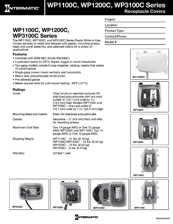 Intermatic WP1110C 1 Gang Vertical//Horizontal 3-5//8-Inch Deep Weatherproof Box Clear