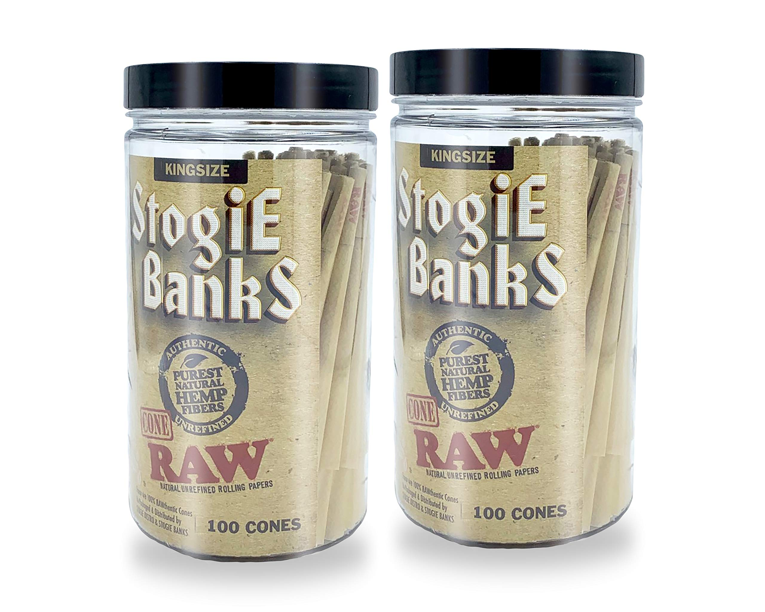 RAW Pre-Rolled Cones with Tips - 200 Pack - King Size Classic by RAW, STOGIE BANKS