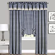 Achim Home Furnishings Buffalo Check Window Curtain Panel, Black/White, 42 x 63-Inch, 42  x 63 , Navy