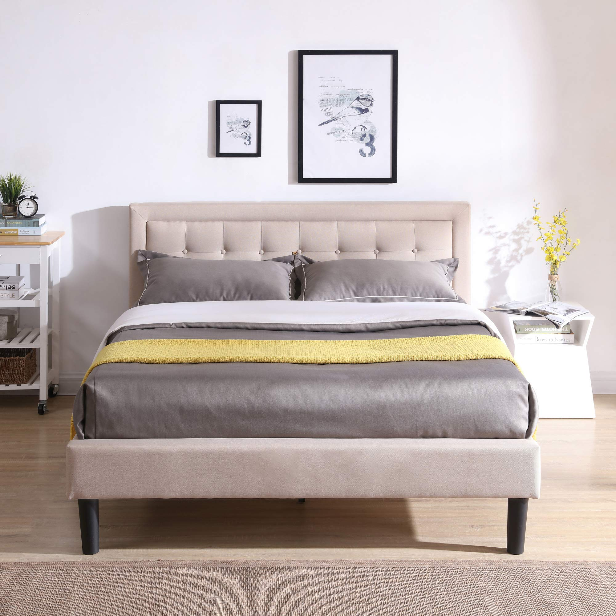 Mornington Upholstered Platform Bed | Headboard and Metal Frame with Wood Slat Support | Linen, Queen by Classic Brands