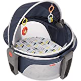 Fisher-Price On-The-Go Baby Dome Citron Wedge, Portable Infant Play and Napping Space with Canopy and Toys