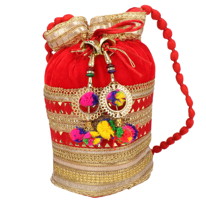 Indian Satin Potli Bag With...