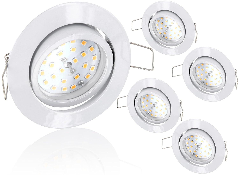 5er Pack - Ultraflacher LED 5W Einbaustrahler schwenkbar 230V - weiß - 490lm - 120° - tagesweiß (4000 K) HAVA