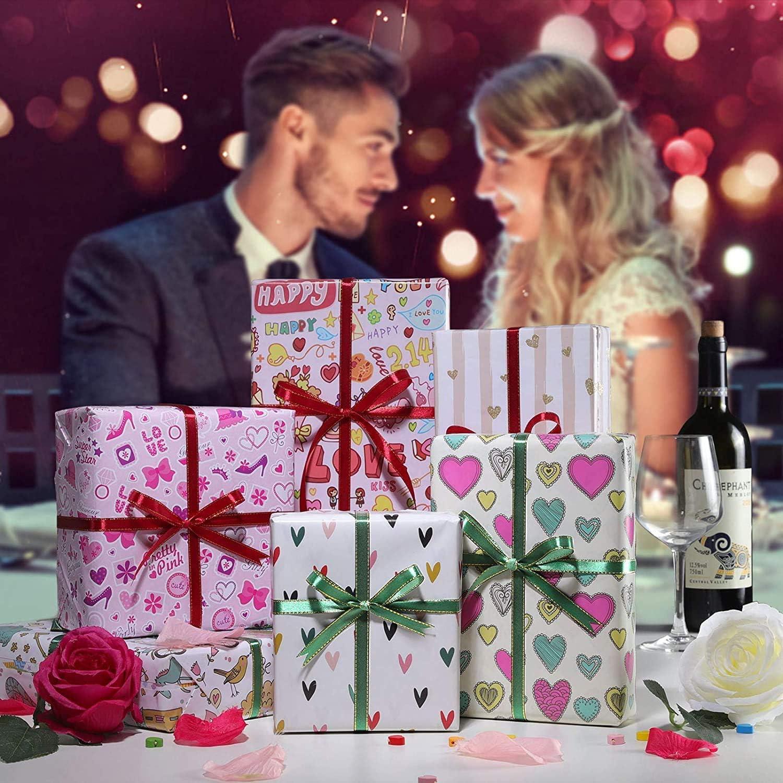 WolinTek Papier Cadeau pour Enfants,Papier Demballage de la Saint-Valentin,Feuilles De Papier demballage Cadeau pour Anniversaire Cadeau de Naissance 50 x 70 cm Vacances 6 D/ésign Mariage