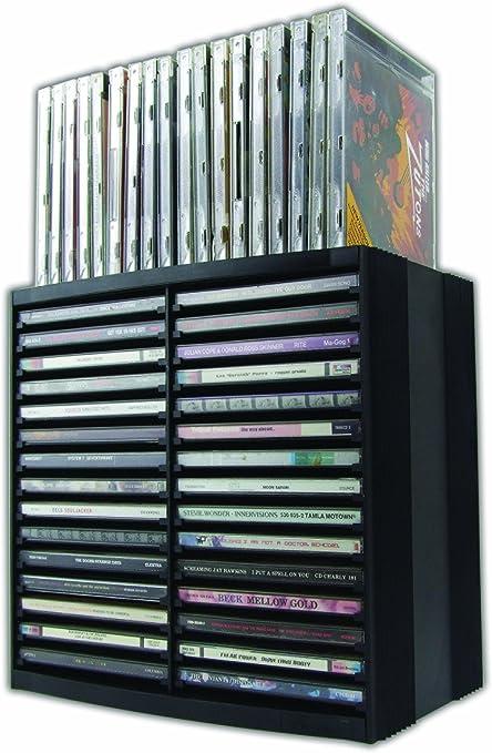 Fellowes Cd Aufbewahrung Cd Turm Mit Selbstauswurf System Horizontal Und Vertikal Nutzbar Für 30 18 Cds Farbe Schwarz Küche Haushalt