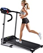 Goplus Electric Folding Treadmill, Compact Running Machine with LCD Display and