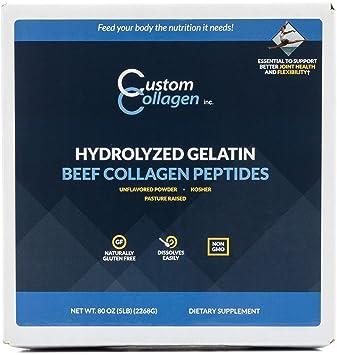 Amazon.com: Gelatina hidrolizada Custom Collagen, pé ...