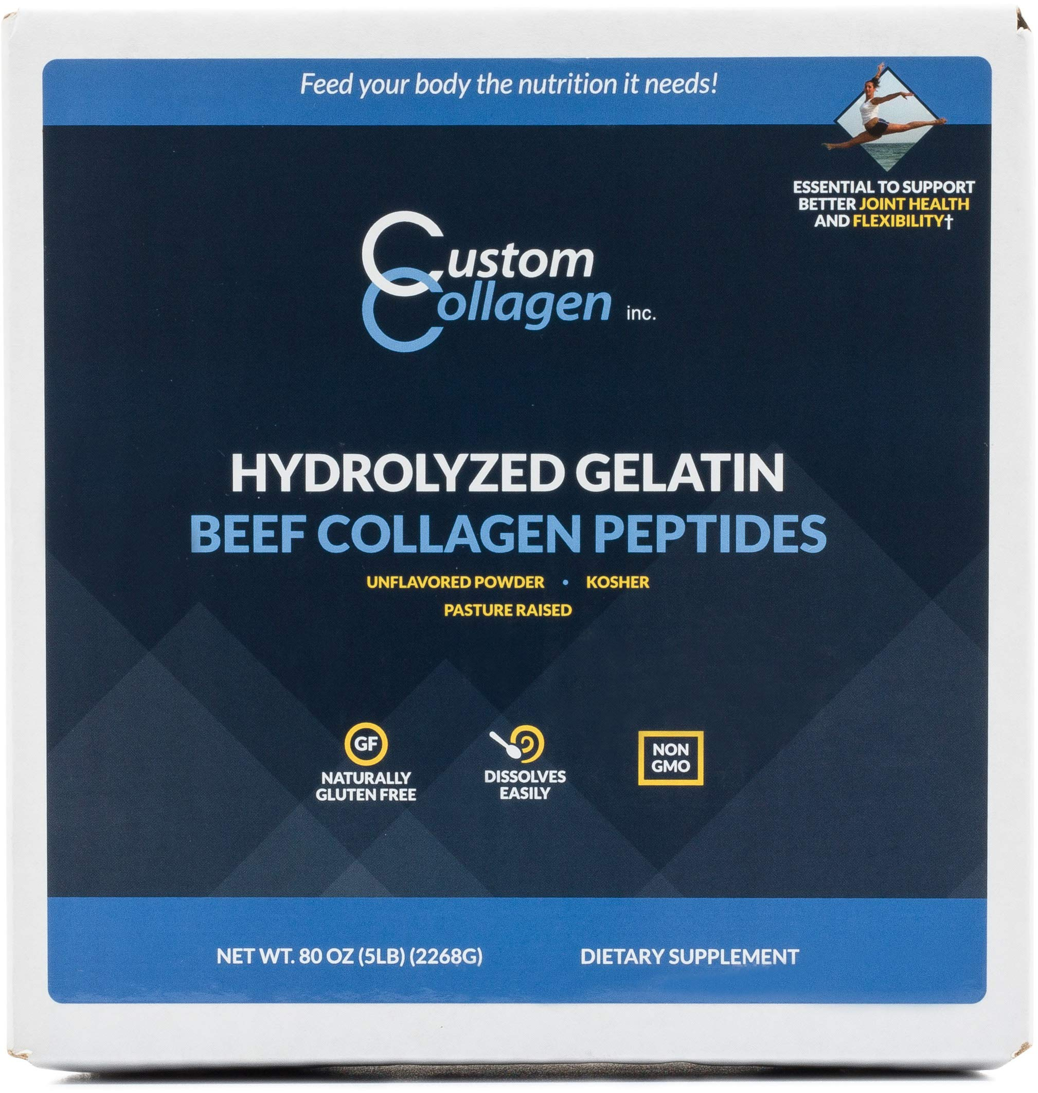 Collagen Peptides Powder 5lb (80oz) Pouch - Clean Collagen® - Unflavored, Grass Fed, Paleo, Non GMO, Kosher - Highly Soluble Protein