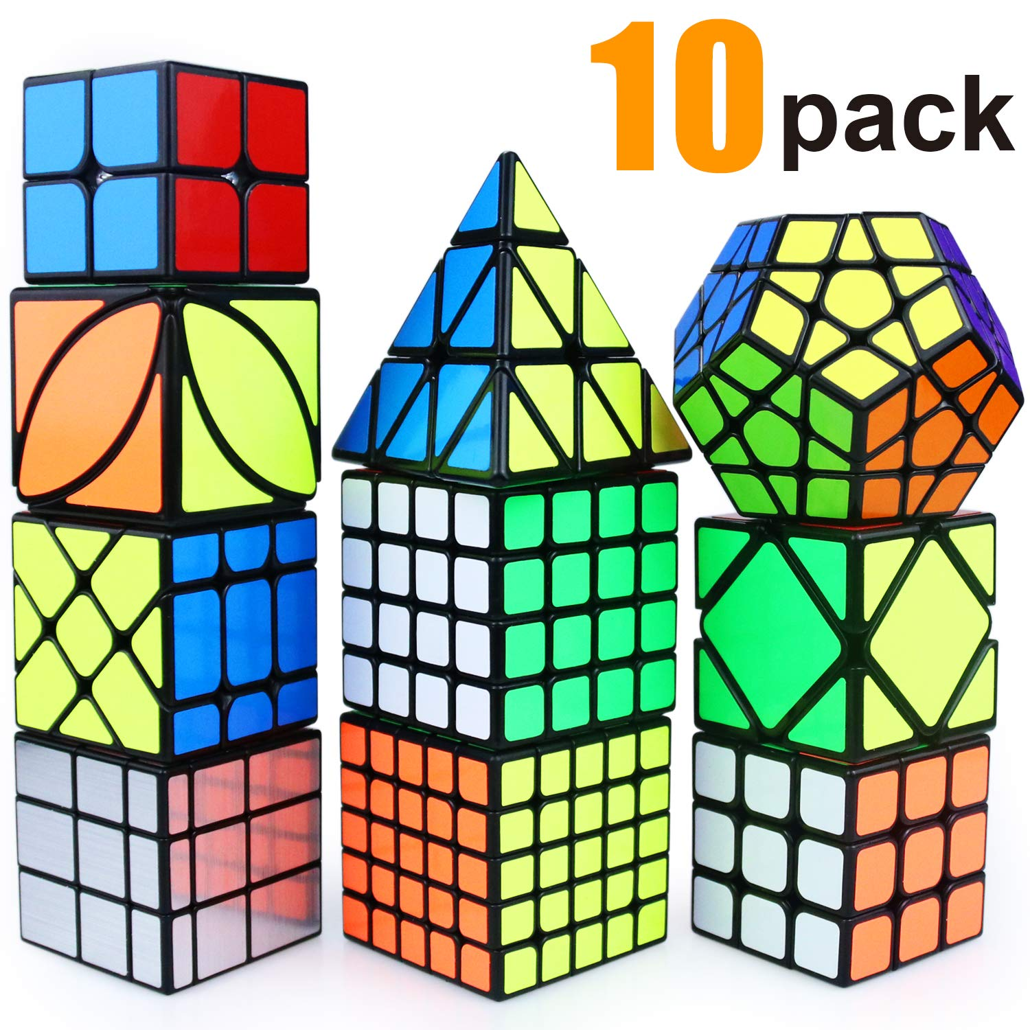 Puzzle Toy Speed Cube Set, 2x2, 3x3, 4x4, 5x5, Pyramid, Skewb, Moving Edge, Ivy, Mirror and Megaminx Cube -Toy Puzzles Cube for Kids and Adults(10 Pack) by AROIC