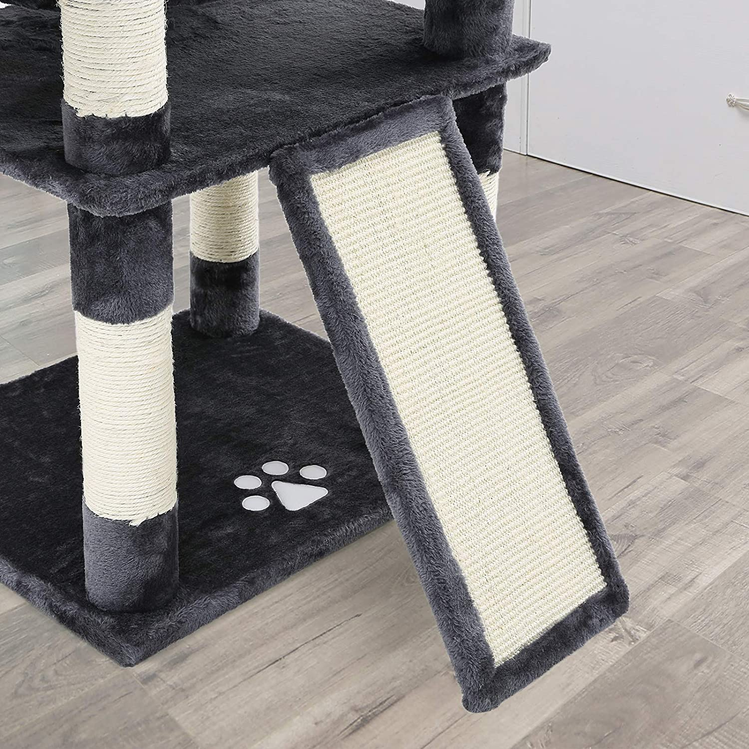 Cat Tower with 3 Comfortable Viewing Perches Extra Scratch Board Smoky Grey PCT18GYZ Thick Sisal Posts 172 cm Stable FEANDREA Big Cat Tree Cat Condo with 2 Cuddly Caves