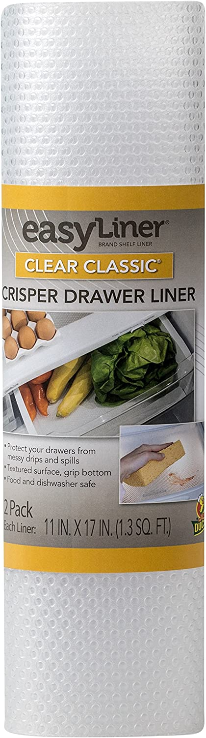 Duck Brand Clear Classic Easy 286014 Refrigerator Shelf Liner, 11 x 17 inch Sheet, 2 Pack