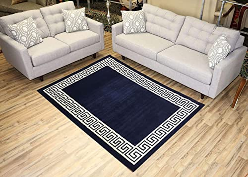 Studio Collection Meander Ancient Roman Design Contemporary Modern Area Rug Rugs 3 Different Color Options Navy Blue, 5 x 7