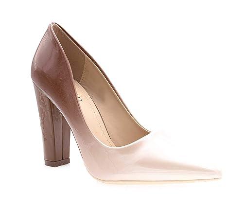 reasonably priced release date: shades of Escarpin Femme Verni - Chaussure Mode Escarpin Slip-on Multicolore Effet  Dégradé - Talon Haut Bloc Carré 10 CM - Chic Tendance Elégant