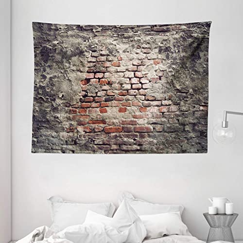 Ambesonne Brick Wall Tapestry, Worn Brick Wall with Stucco Vintage Grungy Retro Illustration, Wide Wall Hanging for Bedroom Living Room Dorm, 80 X 60 , Tile Red