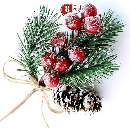 Noël Paillettes Boule Berry Pine Cone Spray Tige-Rouge