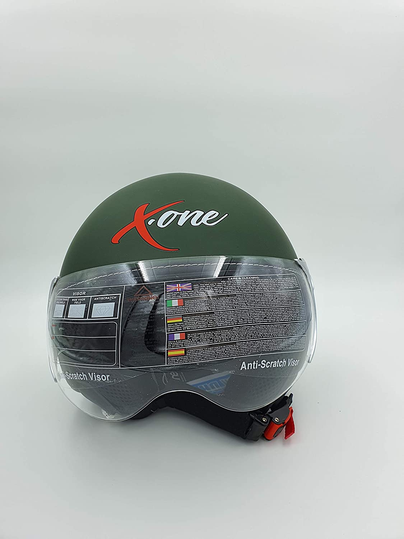 OMOLOGAZIONE ECE 22.05R XONE ACCESSORI AUTO SRL CASCO MOTO SCOOTER DEMI JET SMINTEGRALE CON VISIERA ANTIRIFLESSO XL-61//62, GRIGIO-OPACO