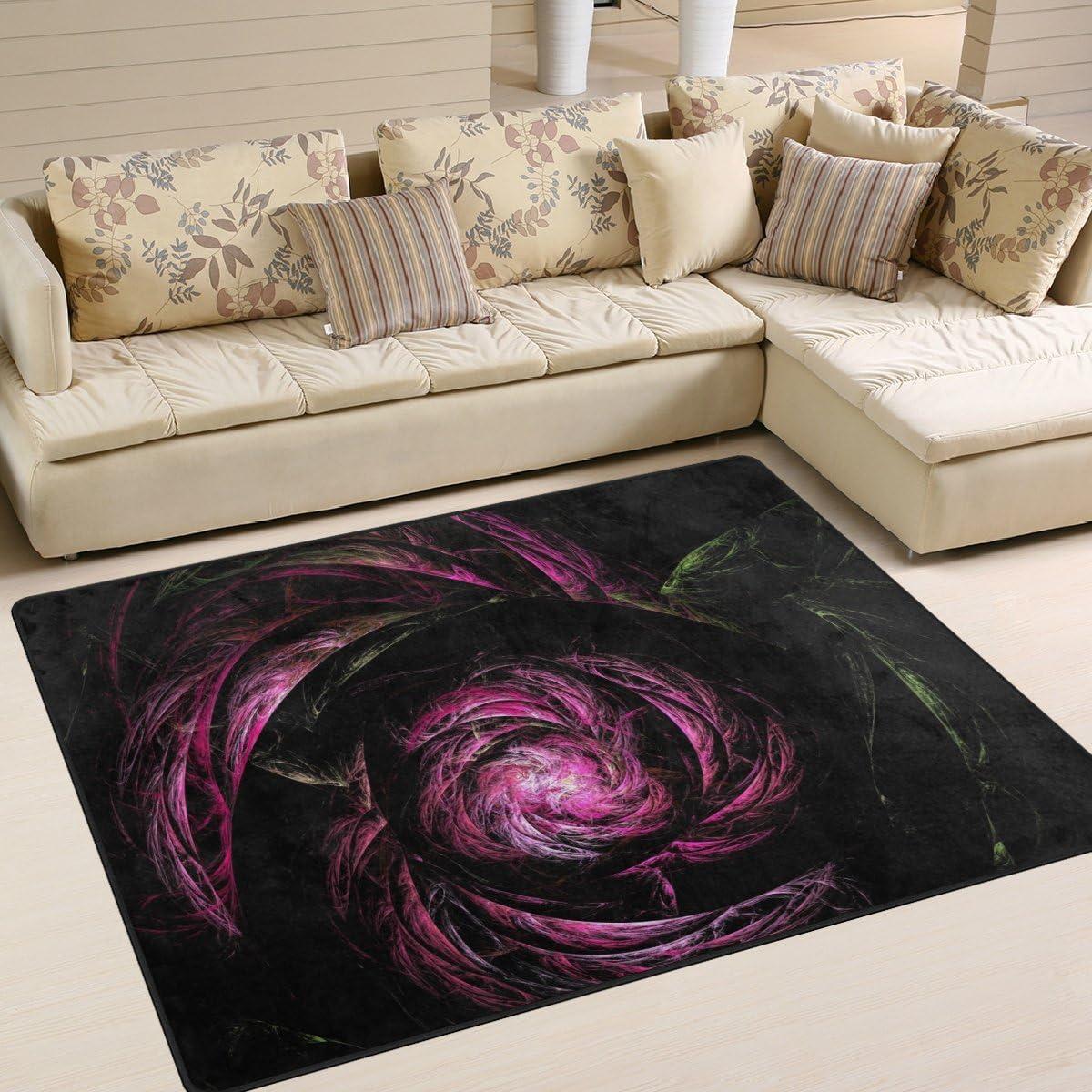 SAVSV Fractal Rose Printed Large Area Rugs,Lightweight Water-Repellent Floor Carpet for Living Room Bedroom Home Deck Patio,6 8 x 4 10