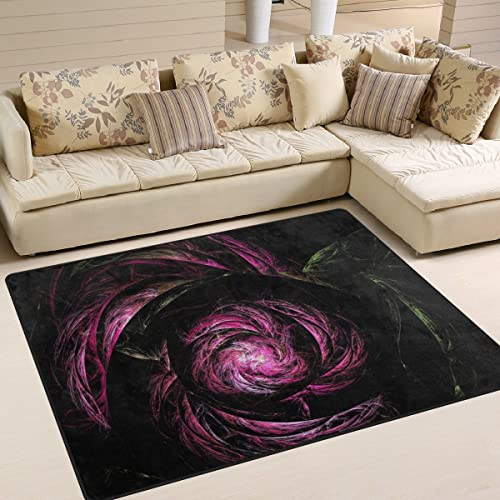 SAVSV Fractal Rose Printed Large Area Rugs,Lightweight Water-Repellent Floor Carpet