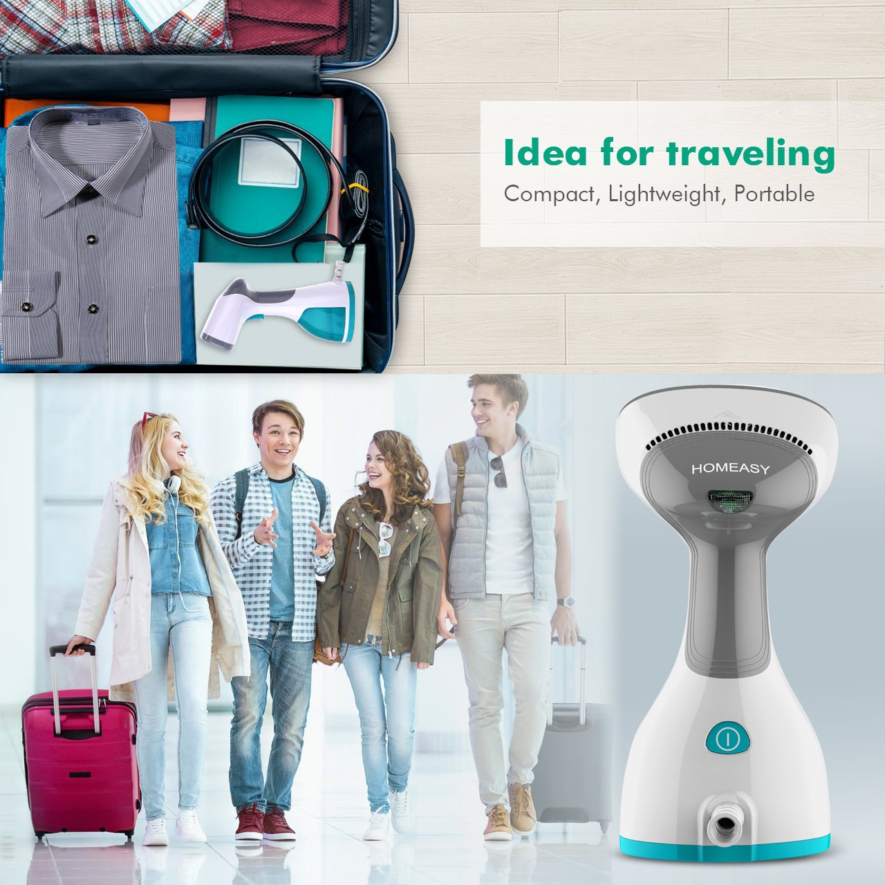 homeasy Clothes Steamer Garment Steamer 5 in 1 Handheld Fabric Steamer Wrinkle Remover with Fast Heat-up Function for Home and Travel [Satisfaction Guarantee]