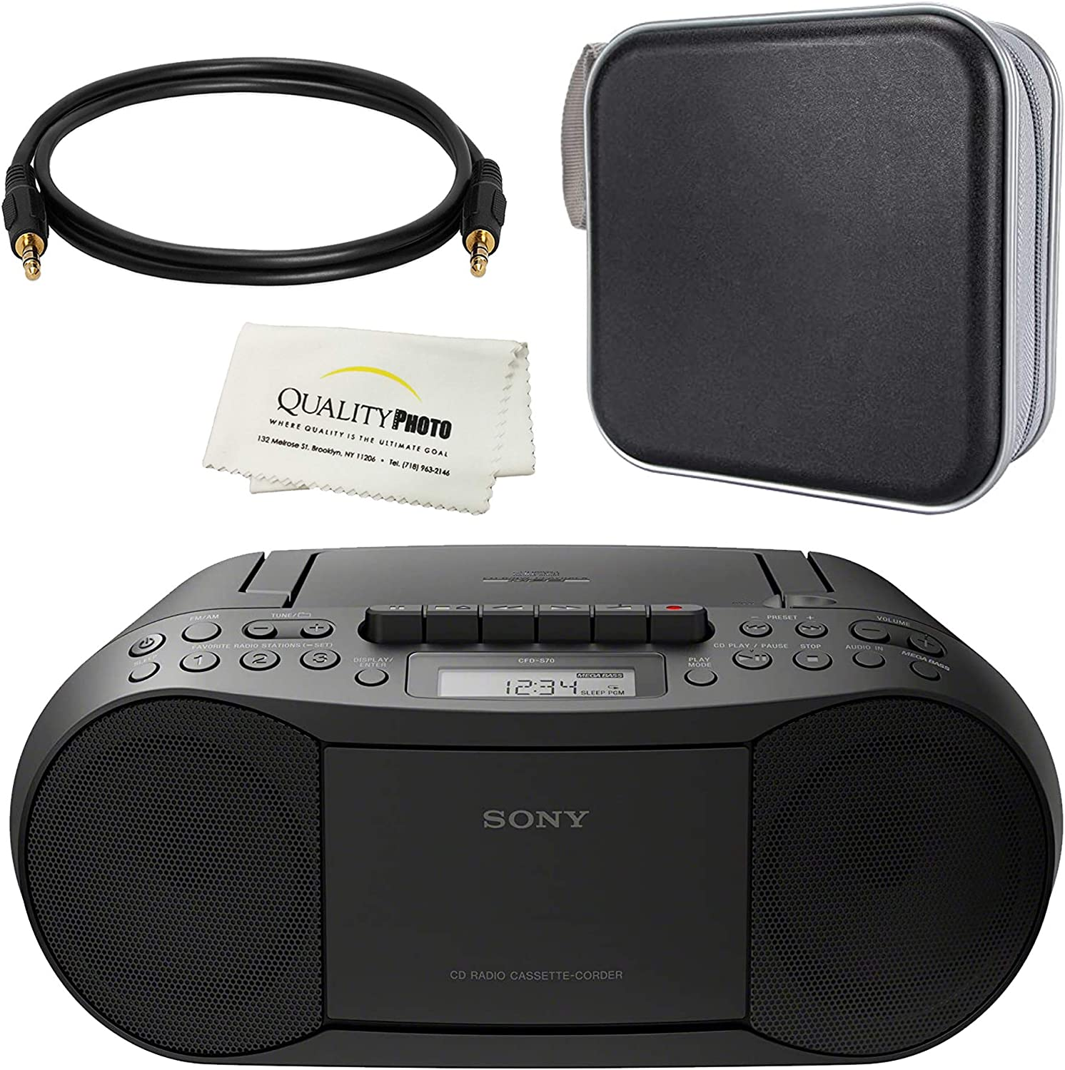 Sony Stereo CD/Cassette Boombox Home Audio Radio, Black with CD/DVD Album, 3ft AUX Wire (CFDS70BLK)