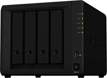 Synology DiskStation DS418 Ethernet Mini Tower Negro NAS - Unidad Raid (40 TB, Unidad de Disco Duro, Unidad de Disco Duro, SSD, Serial ATA III, 10000 GB, 2.5/3.5