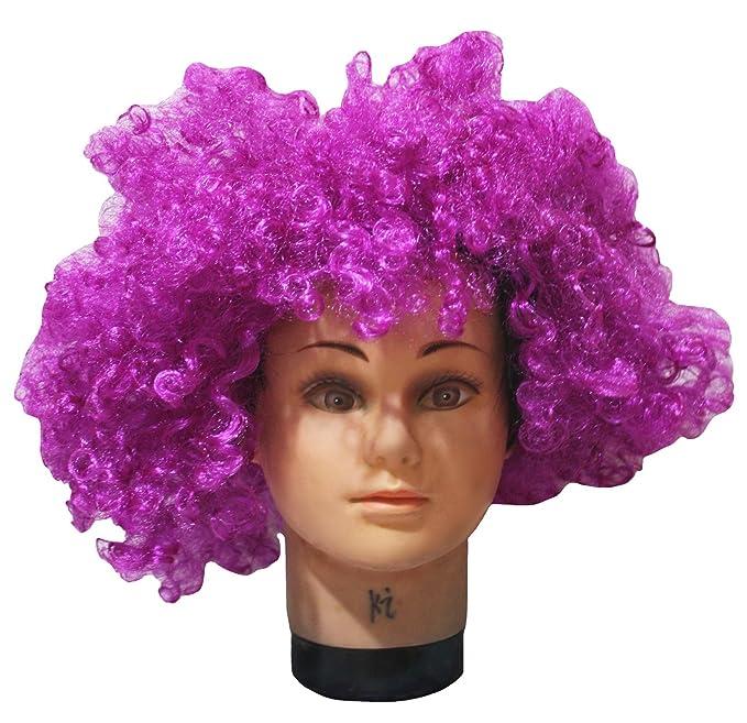 Petitebelle disfraz de Halloween morado Big peluca afro pelo para Unisex libre tamaño
