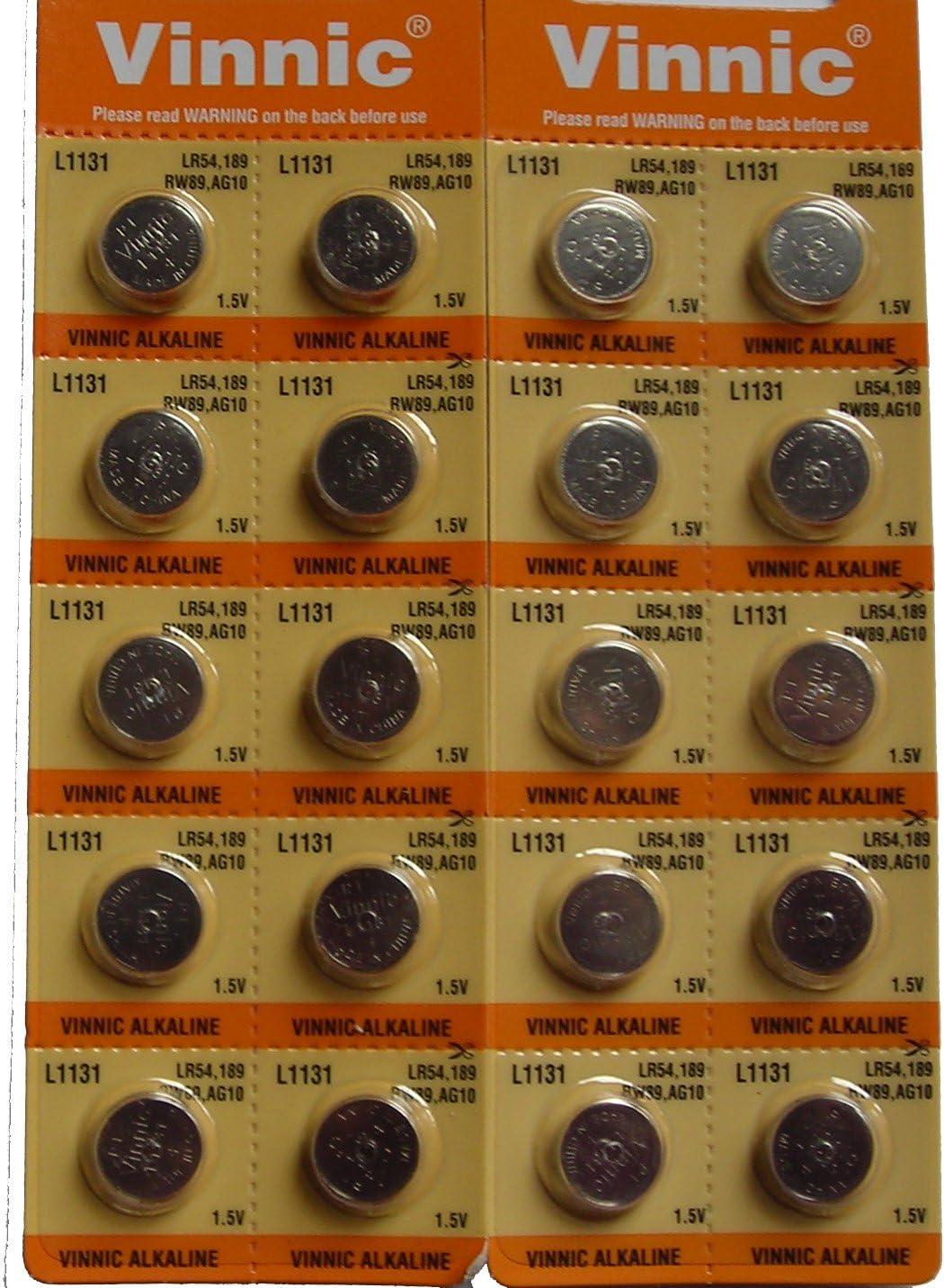 20 X Vinnic Ag10 Lr1131 189 1.5V Alkaline Batteries