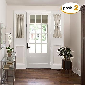 H.VERSAILTEX Faux Linen Semi Sheer Voile Half Window French Door Curtains  Functional Rod Pocket