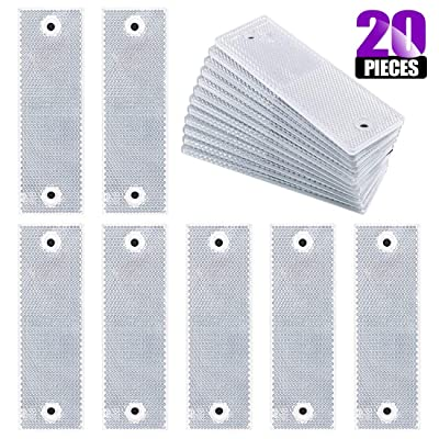 Swpeet 20Pcs Universal White Plastic Rectangular Stick-on Car Reflector Sticker, Door Reflectors Interior White Compatible Warning Plate Adhesive Reflector for Most Car: Automotive