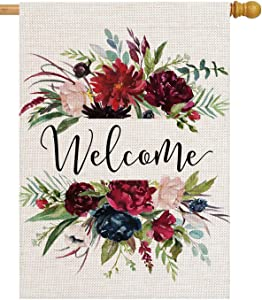 pingpi Personalized House Flag Large Double Sided Welcome Flower,Welcome Friends,Farmhouse Decor,Yard Decor,Outdoor Decor,Garden Flag 28 X 40 Inch