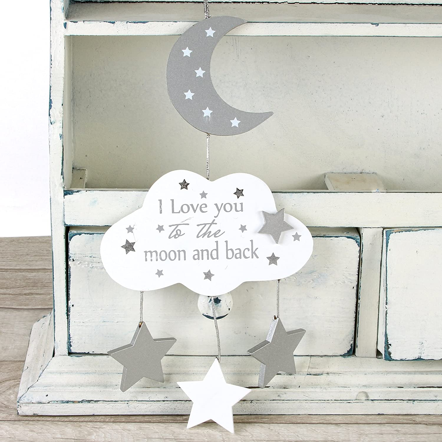 Baby Sentiment Hanging Plaque Love You To The Moon and Back WBL WBCG1420BAM
