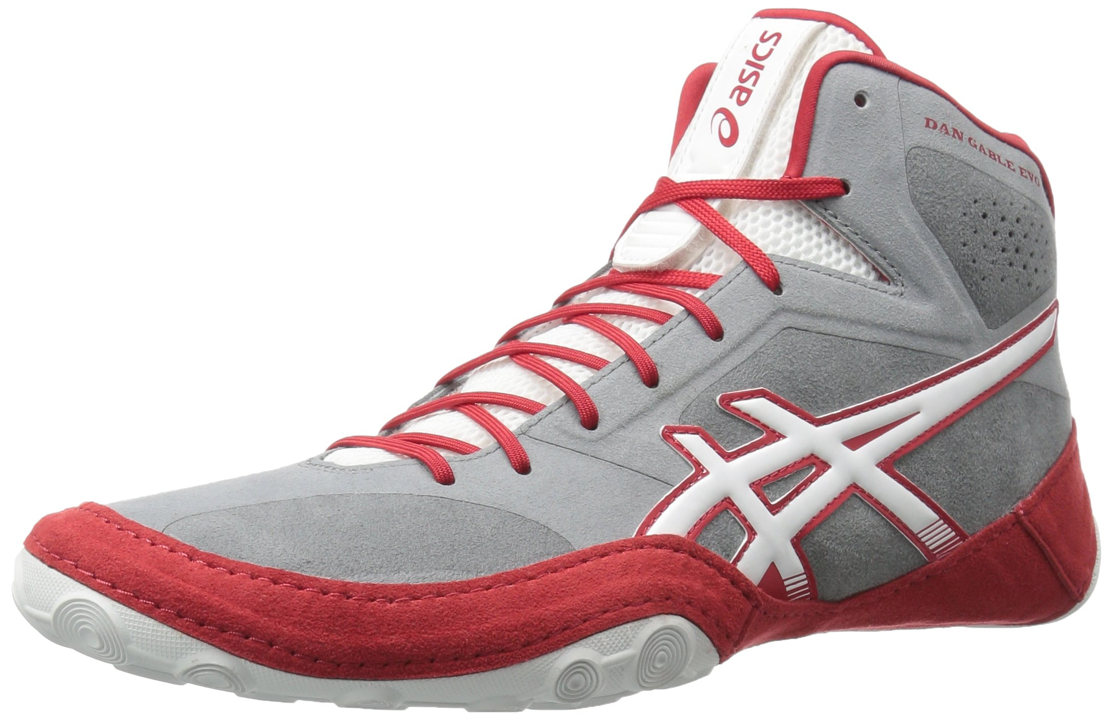ASICS Men's Dan Gable Evo Wrestling-Shoes, Aluminum/White/Classic Red, 15 Medium US